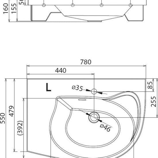 Раковина литьевой мрамор Ravak Rosa Comfort