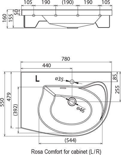 Раковина литьевой мрамор Ravak Rosa Comfort N с тумбой